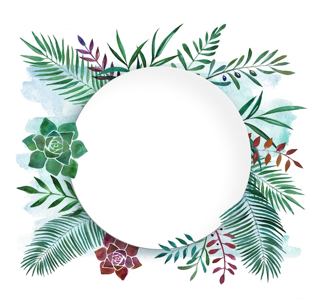 Watercolor botanical tropical frame dish
