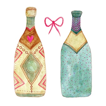 Watercolor bottle of champagne