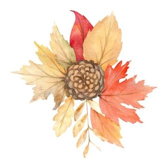 秋のオレンジと赤の葉の水彩花束。