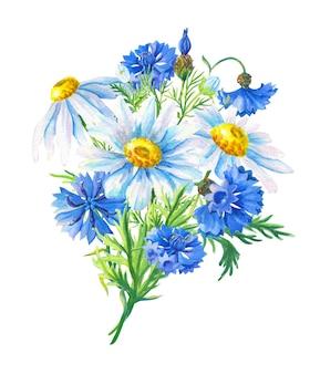 Акварельный букет из ромашек, васильков, зеленых листьев. абстрактный цветок для дизайна украшения. цветочные иллюстрации. летнее полевое растение.