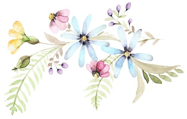 野花の水彩花束。植物の春の組成。花手描きセット