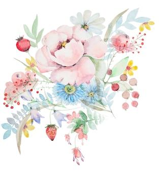野花の水彩花束。ベリーや他の花と牡丹。植物の春の組成