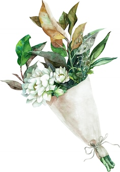 Watercolor bouquet of white flowers with green and yellow leaves in paper wrapping. hand-drawn illustration.