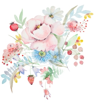 Watercolor bouquet of wildflowers. peonies with berries and other flowers. botanical spring composition