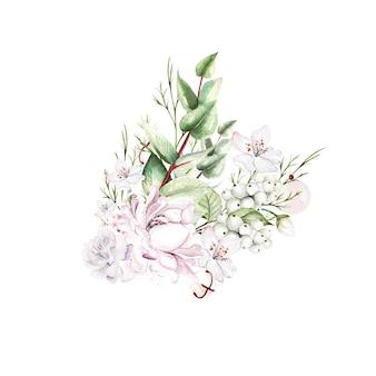 花とベリーの水彩花束