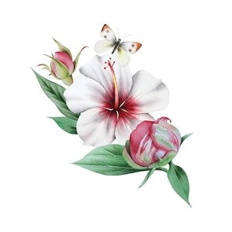 花と蝶と水彩の花束。図。手で書いた。