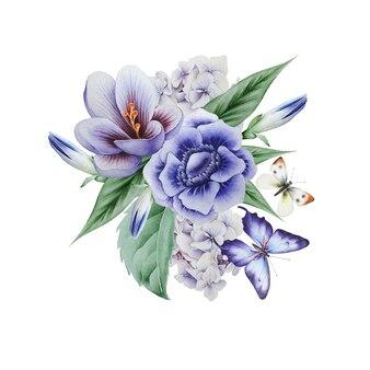 꽃과 나비가 있는 수채화 꽃다발. 삽화. 손으로 그린.