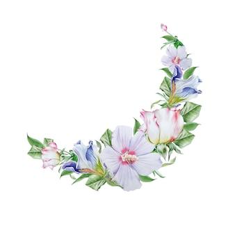 花と水彩の花束。ハイビスカス。虹彩。ローズ。水彩イラスト。手で書いた。