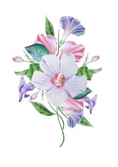 꽃 수채화 꽃다발입니다. 히비스커스. 피튜니아. 삽화. 손으로 그린.