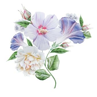花と水彩の花束。ハイビスカス。ローズ。手で書いた。