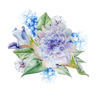 花と水彩の花束。ヒヤシンス。虹彩。アネモネ。図。手で書いた。
