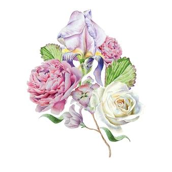 花と水彩の花束。虹彩。ローズ。手で書いた。