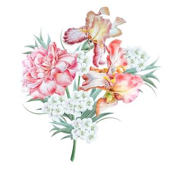 花と水彩の花束。虹彩。ローズ。図。手で書いた。