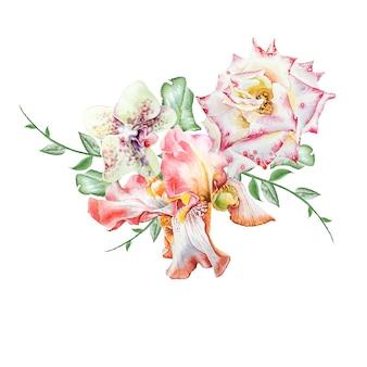 花と水彩の花束。虹彩。ローズ。蘭。図。手で書いた。