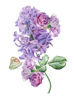 花と水彩の花束。ライラック。バタフライ。図。手で書いた。