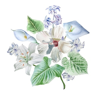 꽃 수채화 꽃다발입니다. 백합. 칼라. 히비스커스. 손으로 그린.