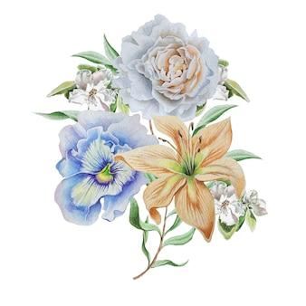 花と水彩の花束。リリー。パンジー。ローズ。手で書いた。