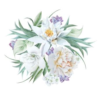 花と水彩の花束。リリー。ローズ。図。手で書いた。