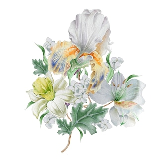 花と水彩の花束。水仙。虹彩。リリー。手で書いた。