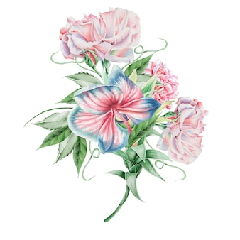 花と水彩の花束。蘭。ローズ。図。手で書いた。