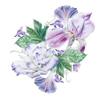 花と水彩の花束。ペチュニア。トルコギキョウ。虹彩。水彩イラスト。手で書いた。