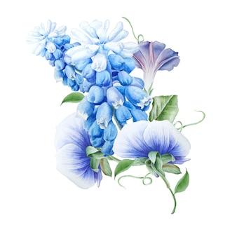 花と水彩の花束。ペチュニア。パンジー。ヒヤシンス。水彩イラスト。手で書いた。