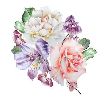 꽃 수채화 꽃다발입니다. 장미. alstroemeria. 난초. 삽화. 손으로 그린.