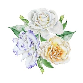 花と水彩の花束。ローズ。トルコギキョウ。図。手で書いた。