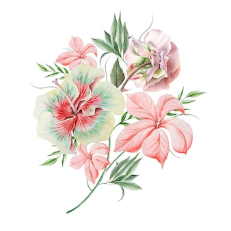 花と水彩の花束。ローズ。ハイビスカス。図。手で書いた。