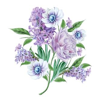 花と水彩の花束。ローズ。ヒヤシンス。アネモネ。手で書いた。
