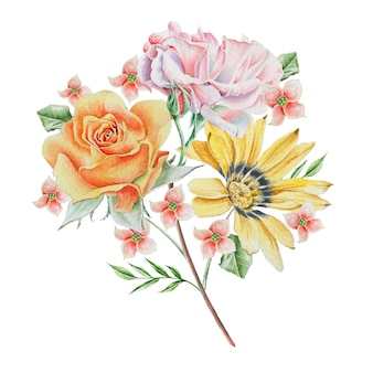花と水彩の花束。ローズ。図。手で書いた。