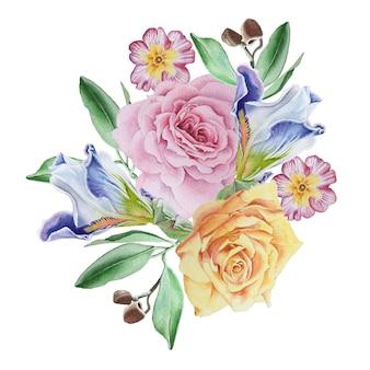 花と水彩の花束。ローズ。アイリス..プリムラ。水彩イラスト。手で書いた。