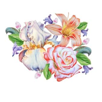 花と水彩の花束。ローズ。ユリ。虹彩。図。手で書いた。
