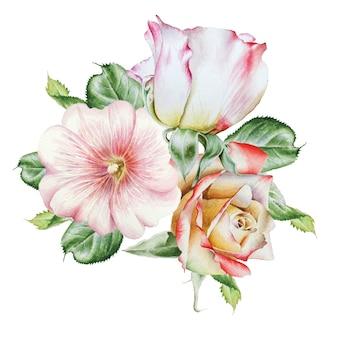 花と水彩の花束。ローズ。ゼニアオイ。水彩イラスト。手で書いた。