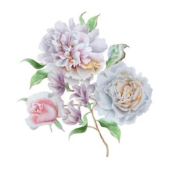 꽃 수채화 꽃다발입니다. 장미. 모란. 손으로 그린.