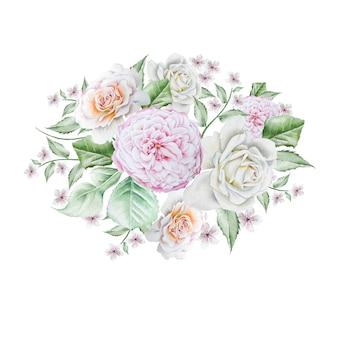 花と水彩の花束。ローズ。牡丹。図。手で書いた。