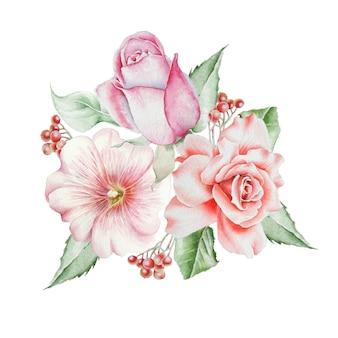 花と水彩の花束。ローズ。ナナカマド。図。手で書いた。