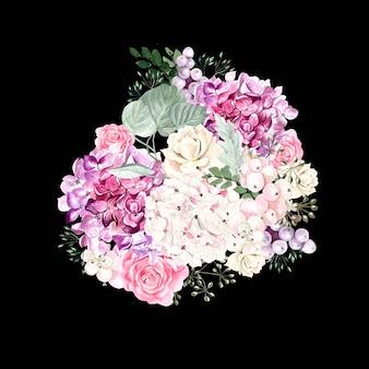 あじさいの花、バラ、多肉植物、ベリー、葉の水彩画の花束。図