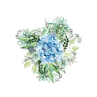 あじさいの花、多肉植物と葉の水彩画の花束。図