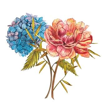 牡丹とアジサイの水彩画の花束