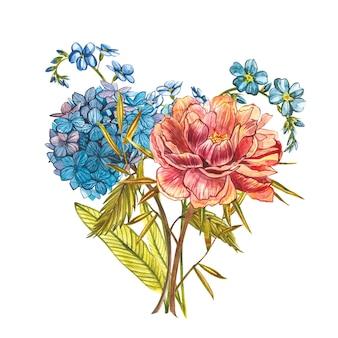 牡丹、ワスレナグサ、アジサイの水彩画の花束