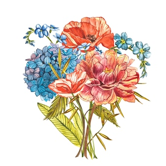 Watercolor bouquet with peonies, forget-me-not, poppies and hydrangeas
