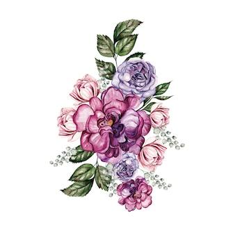 牡丹の花、葉、つぼみの水彩の花束