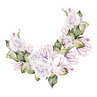 バラとクロッカスの花と水彩の花束