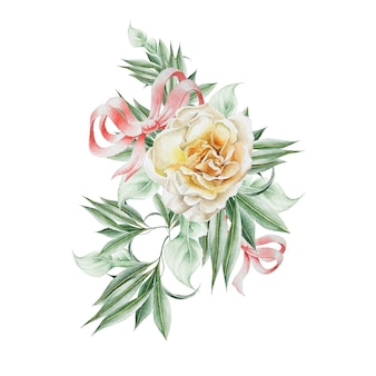 Watercolor bouquet with rose and leaves. illustration.  hand drawn.