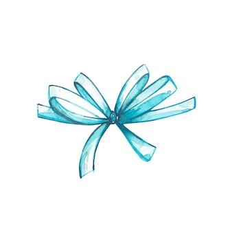 水彩の弓。白地に水彩イラストを手描きします。イースターコレクション。
