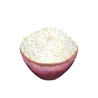 Watercolor bowl of rice isolated on white background.