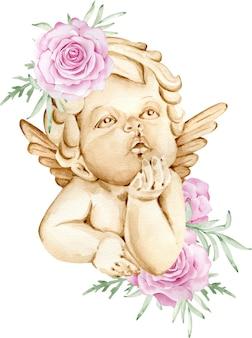 ピンクのバラで飾られた後ろに翼を持つ水彩画の茶色の天使 Premium写真