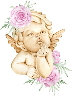 Watercolor brown angel with wings behind decorated with pink roses