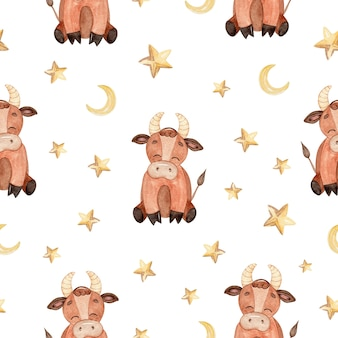 Watercolor brown baby bull and stars seamless pattern